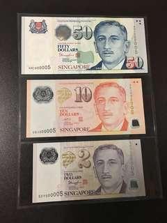Yusof $2 $10 $50 (UNC) 5DY/4GJ/4HC 000005