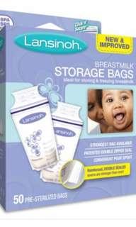 100 Pcs Lansinoh breast milk storage bags
