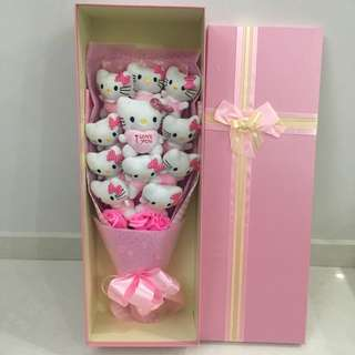 """Hello Kitty Flower Bouquet In Gift Box With """"I Love You"""" (11 Hello Kitty & 3 Pink Soap Roses)"""
