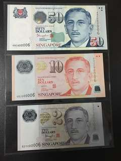Yusof $2 $10 $50 (UNC) 5DY/4GJ/4HC 000006