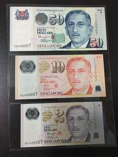 Yusof $2 $10 $50 (UNC) 5DY/4GJ/4HC 000007