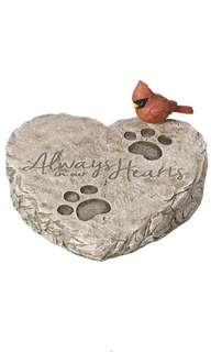 Precious Moments 171460 Always In Our Hearts Decorative Resin Memorial Garden Stone with Cardinal Accent Yard Decor, dog memorial garden stone