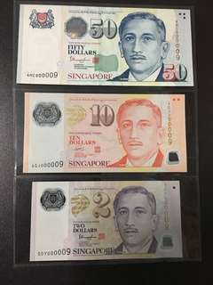 Yusof $2 $10 $50 (UNC) 5DY/4GJ/4HC 000009