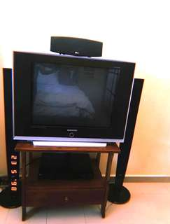 Whole Set: TV, Home Theatre System & Solid Wood TV rack