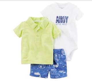 🚚 *24M* Brand New Carter's 3 Piece Bodysuit and Shorts Set For Baby Boy