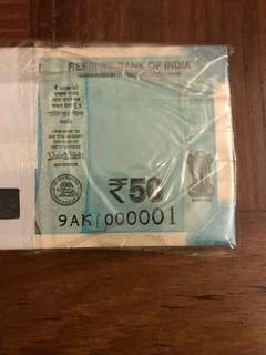 See 4th pic - New 50 Rupees India - Low serial stack 001-100