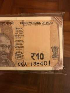 New 10 Rupees india 0AA Stack