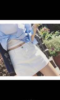 🚚 白色牛仔褲裙