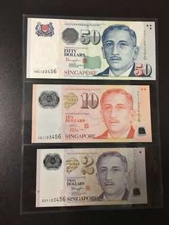 Yusof $2 $10 $50 (UNC) 5DY/4GJ/4HC 123456