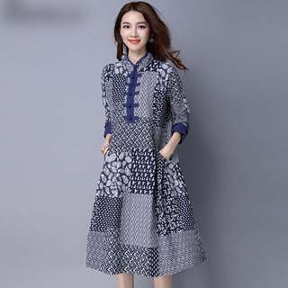Free Shipping Promotion-15-25 Days Shipping Time for Women Cotton Linen Elegant Dress