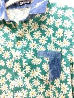 🚚 萊姆綠白花襯衫拼接牛仔藍布料