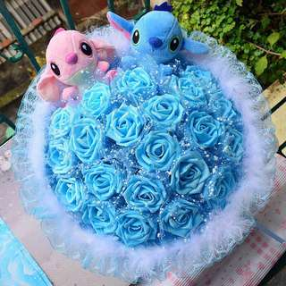 Couple Stitch Flower Bouquet with 21 Blue Roses (Stitch & Angel)
