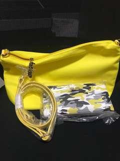 Folli follie 黃色 長銀包 手拎袋 斜孭袋 斜背包 套裝