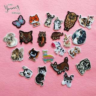 Sewing cartoon Animals cat dog butterfly patches iron on clothing Embroidery Fabric Badges Stickers DIY accessory