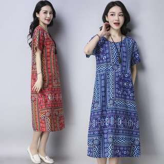 Free Shipping Promotion-15-25 Days Shipping Time for Cotton Linen Print Women Casual Loose Dress