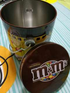 Original M&Ms Chocolate Tin Cylinder Bucket With Handle