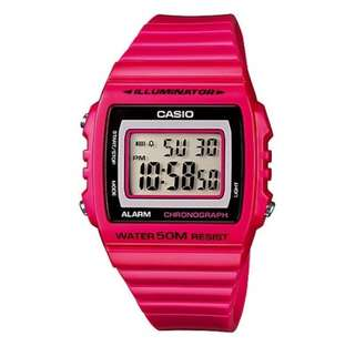 Brand New Casio W-215H-4A Pink Resin Watch For Men and Women