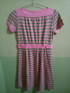 Pink and Green Striped Dress