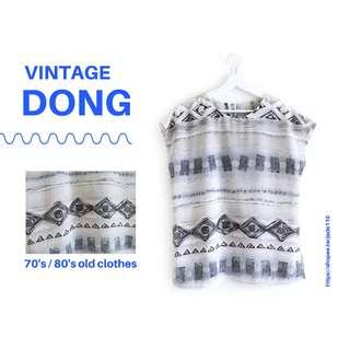 🚚 | 咚 咚 Vintage |法式古著- 幻木白靈小妖短袖衫