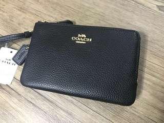 Coach Double Corner Zip Leather Wristlet - Black