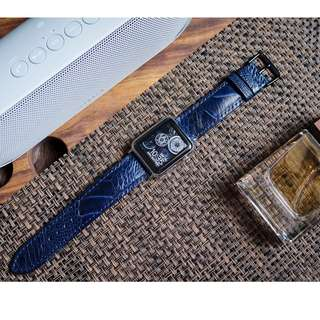 Dark Blue Ostrich Leather Strap For Apple Watch 38/42mm Series 3, 2,1
