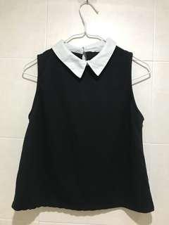 Zara 黑色 有領 背心