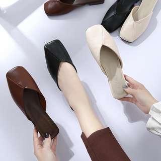 歐美休閒方頭懶人拖鞋 ::::: 粗跟低跟中跟包鞋涼鞋外穿2018新款韓版時尚nude小安SIVIR闆娘MERCCI22