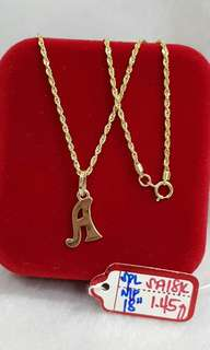 18k saudi gold initial / letter necklace