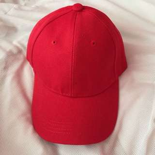 Unisex Red Plain Baseball Hat - brandnew