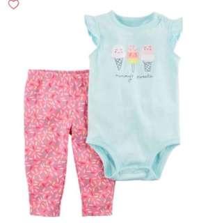 🚚 *9M* BN Carter's 2-Piece Bodysuit Pant Set  For Baby Girl