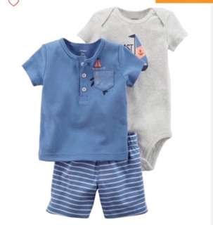 🚚 *9M* BN Carter's 3 Piece Bodysuit and Shorts Set For Baby Boy
