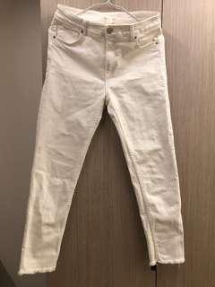 🚚 H&M白色牛仔褲