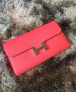 全新 Hermes Constance Long Wallet Rose Azalee Pink 8W Epsom Leather Sliver Hardware