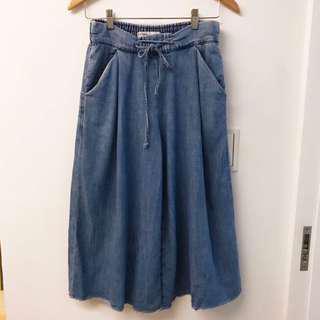 🚚 Zara 綁帶牛仔寬褲
