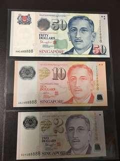 Yusof $2 $10 $50 (UNC) 5DY/4GJ/4HC088888