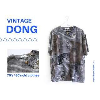 🚚 | 咚 咚 Vintage |日本古著- 秘古埃及部落低彩短袖外杉