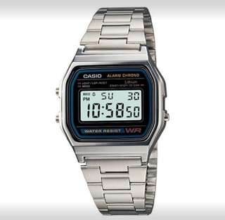 Brand New Casio Vintage A158WA-1D Silver Stainless Steel Watch For Men and Women