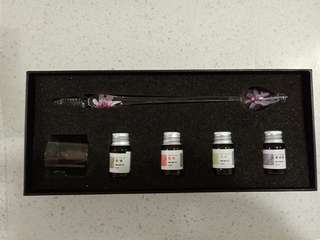 Crystal Glass Dip Pen set (Purple Flower design)