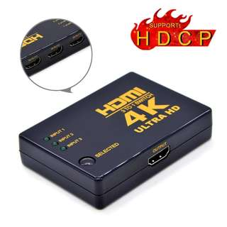 608.Handaes 4K Ultra HD HDMI Switch 3 in 1 out Support HDMI1.4 3D for 4K Ultra HD Device, HDTV, Xbox, PS3
