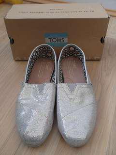 Toms silver glitter Canvas