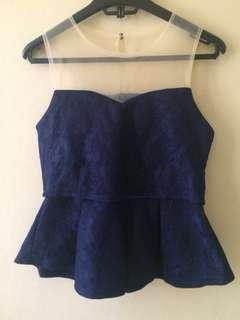 Navy organza blouse