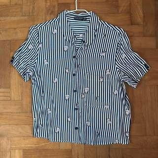 🚚 chiffon pug stripe blouse