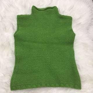 Green Knitted Sleeveless Turtlenecked