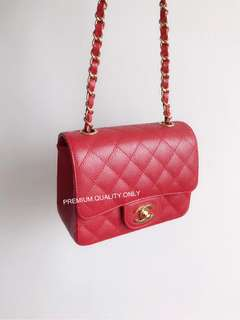 Chanel Caviar Mini Square- Red