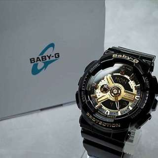 BABY G BA110 BLACK/GOLD