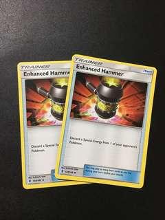 2x enhanced hammer Pokemon card