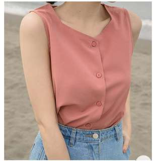 🚚 Mercci22 雪紡氣質感 簡單風前排釦 粉色背心上衣 S號