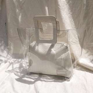 White Croc embossed faux leather vinyl bag