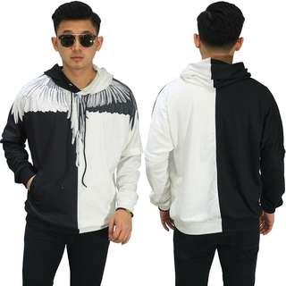 Sweater Hoodie Printing Wings Black And White
