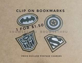 Superheroes (Batman/Superman/Captain America/Transformers) Clip on Bookmarks
